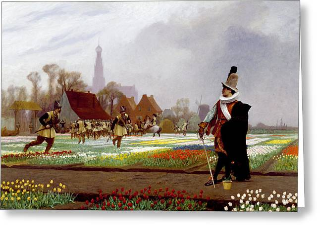 Jean Leon Gerome Greeting Cards - The Tulip Folly Greeting Card by Jean-Leon Gerome