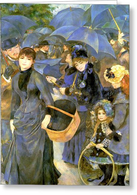 Renoir Greeting Cards - The Umbrellas Greeting Card by Pierre Auguste Renoir
