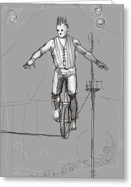 The Unicyclist Greeting Card by H James Hoff