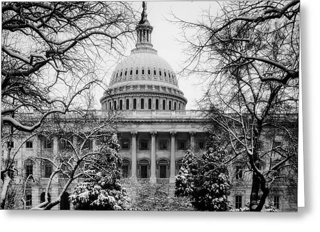 U.s. Capitol Dome Greeting Cards - The U.S. Capitol in Winter Greeting Card by Mountain Dreams