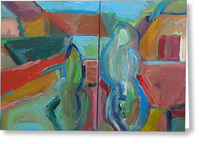 Abstract Expressionist Greeting Cards - The Village Greeting Card by Marlene Robbins