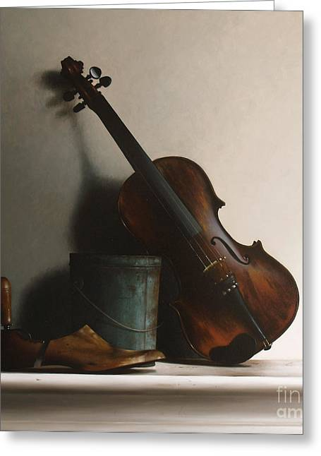 Shoe String Greeting Cards - The Violin Greeting Card by Larry Preston