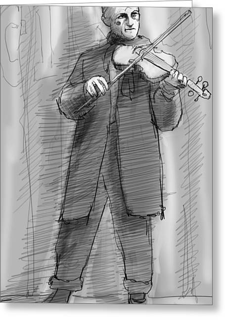 The Violinist Greeting Card by H James Hoff