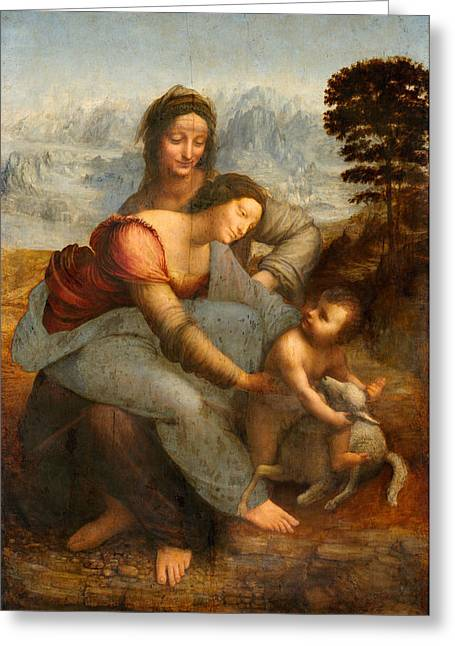 1510 Paintings Greeting Cards - The Virgin and Child with St. Anne Greeting Card by Leonardo da Vinci
