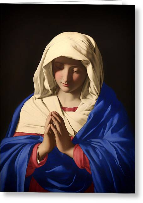 Praying Hands Paintings Greeting Cards - The Virgin in Prayer Greeting Card by Sassoferrato