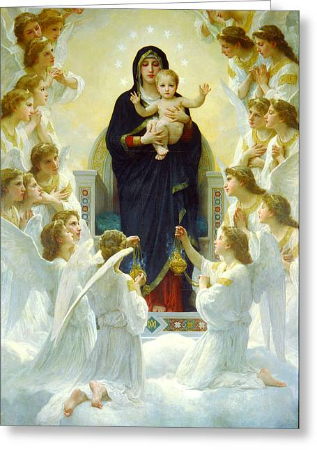 Romanticism Greeting Cards - The Virgin With Angels Greeting Card by William-Adolphe Bouguereau