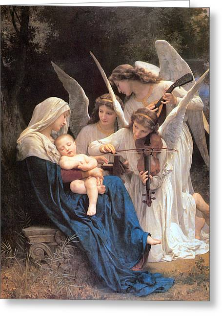 Playing Music Greeting Cards - The Virgin With Angels Greeting Card by William Bouguereau
