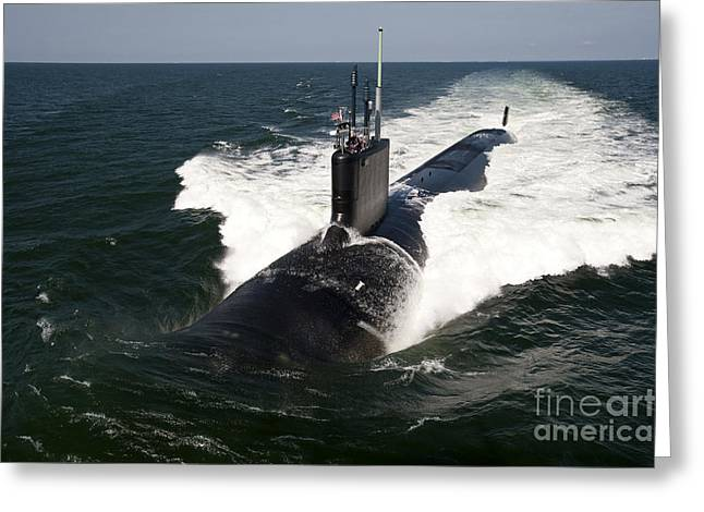 Trial Greeting Cards - The Virginia-class Attack Submarine Uss Greeting Card by Stocktrek Images