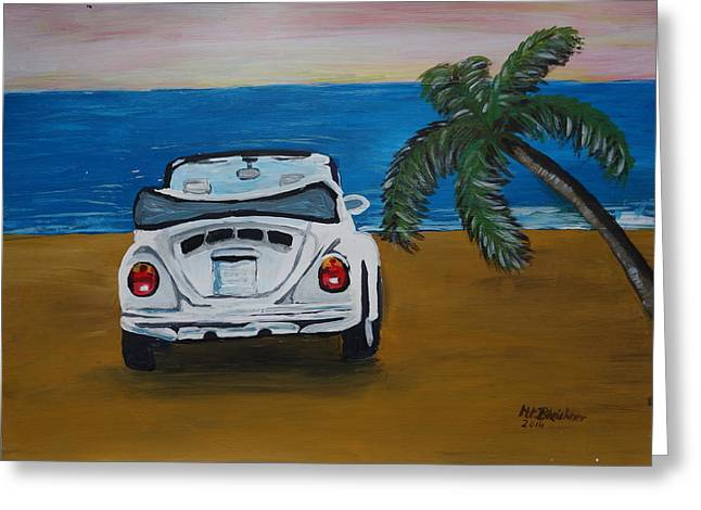Vw Beetle Paintings Greeting Cards - The VW Bug Series - The White Volkswagen Bug at the Beach Greeting Card by M Bleichner