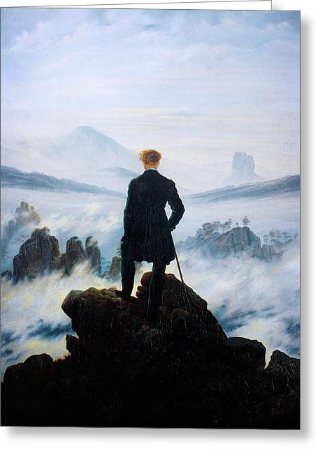 Wanderer Greeting Cards - The Wanderer Above the Sea of Fog Greeting Card by Celestial Images