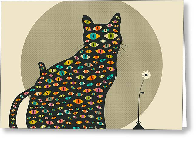 Pop Surrealism Greeting Cards - The Watcher Greeting Card by Jazzberry Blue