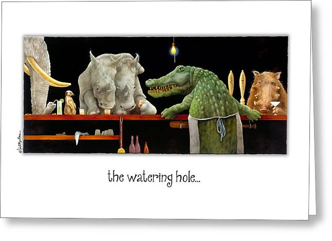 Elephant Drinking Greeting Cards - The Watering Hole... Greeting Card by Will Bullas