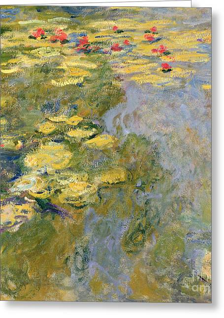 Red Leaves Greeting Cards - The Waterlily Pond Greeting Card by Claude Monet