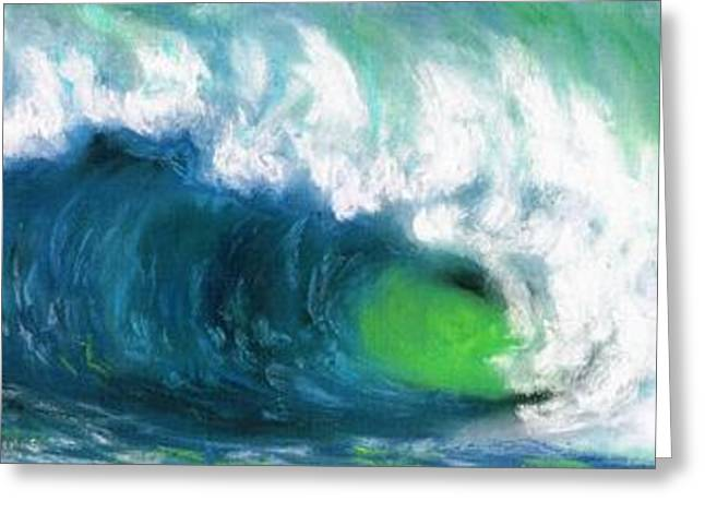 Waves Pastels Greeting Cards - The Wave Greeting Card by Frances Marino