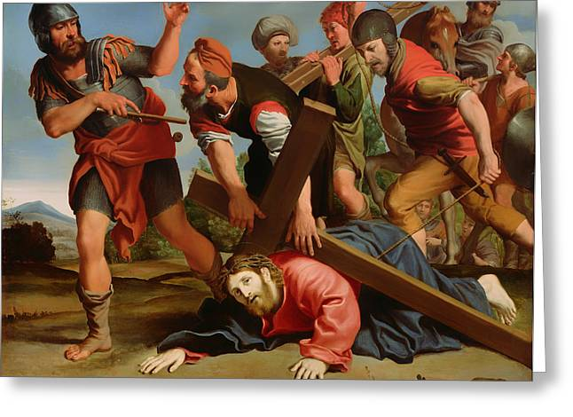 Religious Artwork Paintings Greeting Cards - The Way to Calvary Greeting Card by Domenichino