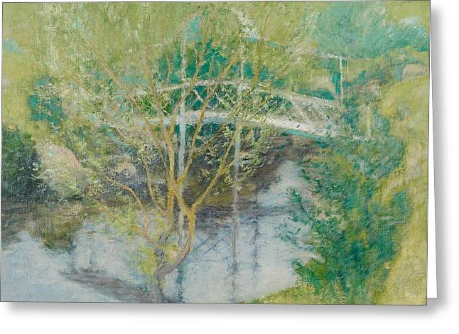 The Glade Greeting Cards - The White Bridge Greeting Card by John Henry Twachtman