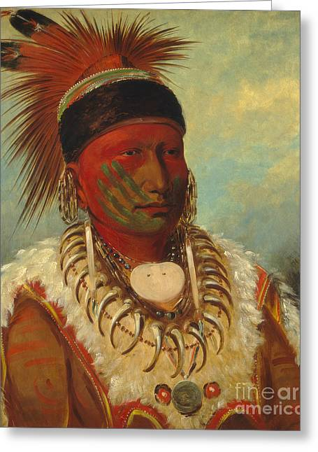 American Indians Greeting Cards - The White Cloud Head Chief of the Iowas Greeting Card by George Catlin