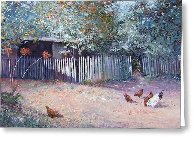 Lounge Paintings Greeting Cards - The white picket fence Greeting Card by Jan Matson