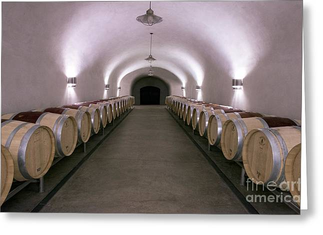 Red Wine Bottle Greeting Cards - The Wine Cave Greeting Card by Jon Neidert