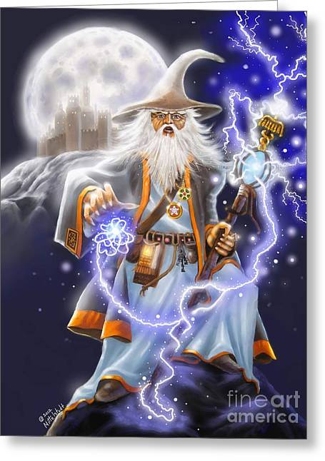 The Wizard Greeting Card by Rick Mittelstedt