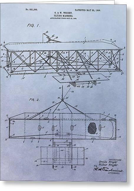 Important Greeting Cards - The Wright Brothers Airplane Patent Greeting Card by Dan Sproul