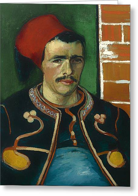 Mustache Greeting Cards - The Zouave Greeting Card by Vincent van Gogh