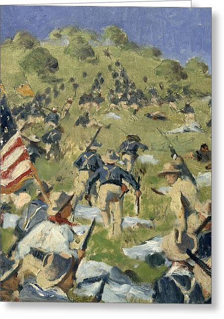 Conservative Greeting Cards - Theodore Roosevelt taking the Saint Juan Heights Greeting Card by Vasili Vasilievich Vereshchagin