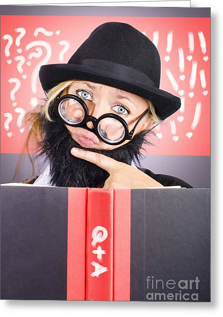Thinking Male Professor With Questions And Answers Greeting Card by Jorgo Photography - Wall Art Gallery