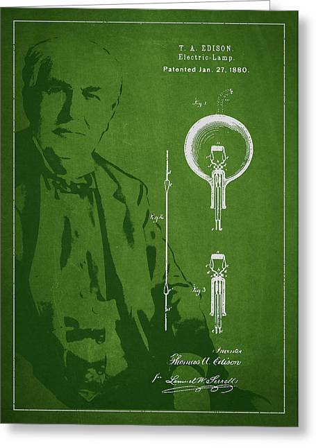 Thomas Edison Electric Lamp Patent Drawing From 1880 Greeting Card by Aged Pixel