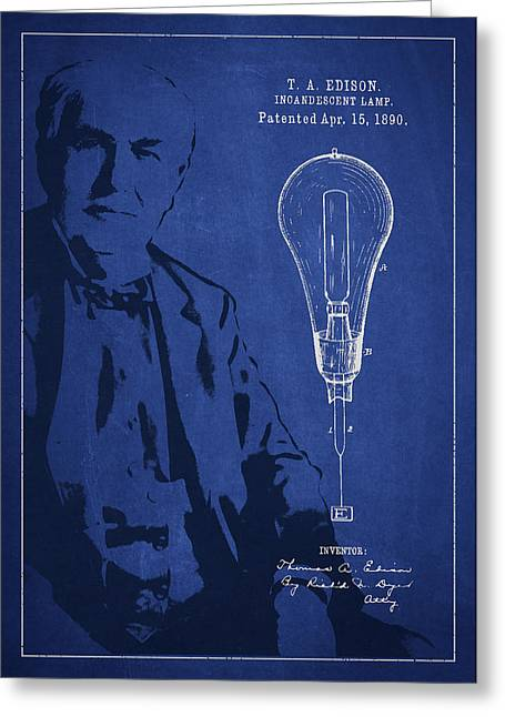 Edison Greeting Cards - Thomas Edison Incandescent Lamp Patent Drawing From 1890 Greeting Card by Aged Pixel