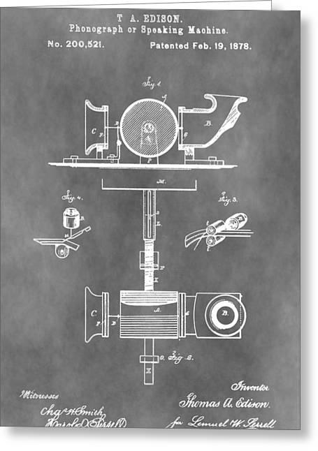 Thomas Alva Edison Greeting Cards - Thomas Edison Patent Greeting Card by Dan Sproul