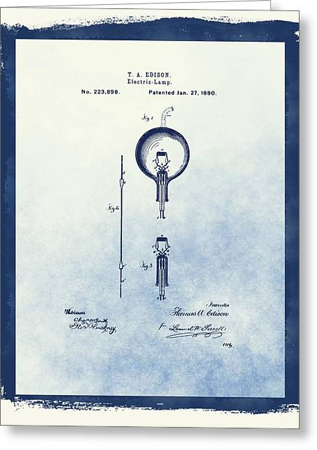 Wire Mixed Media Greeting Cards - Thomas Edisons Electric Lamp Greeting Card by Dan Sproul