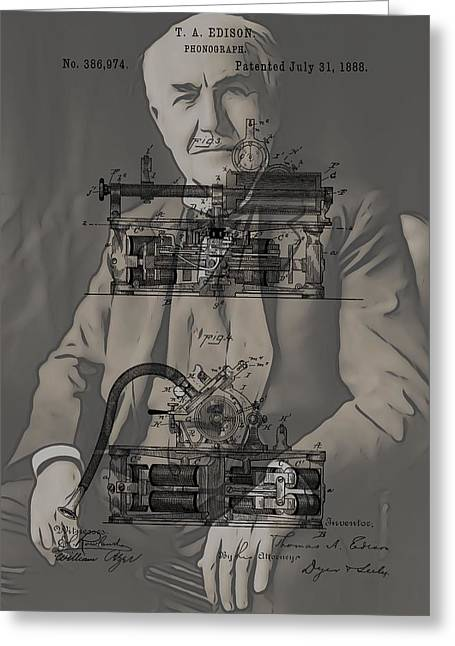Noise . Sounds Mixed Media Greeting Cards - Thomas Edisons Phonograph Greeting Card by Dan Sproul