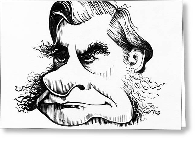 British Bulldog Greeting Cards - Thomas Huxley, Caricature Greeting Card by Gary Brown