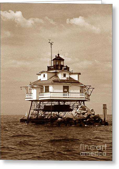 Lighthouse Photography Greeting Cards - Thomas Point Shoal Lighthouse Sepia Greeting Card by Skip Willits