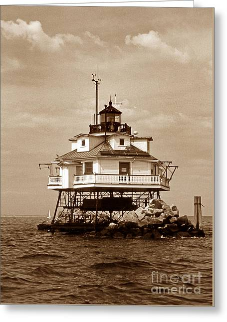 Thomas Point Shoal Lighthouse Sepia Greeting Card by Skip Willits