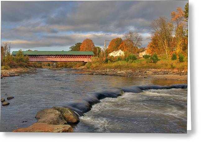 Old North Bridge Greeting Cards - Thompson Covered Bridge 2 Greeting Card by Joann Vitali