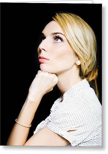 Thoughtful Businesswoman On Black Background Greeting Card by Jorgo Photography - Wall Art Gallery