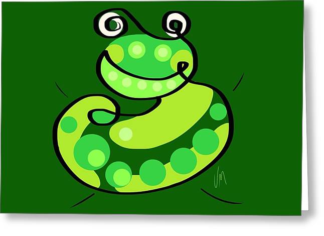 Fun Digital Art Greeting Cards - Thoughts and colors series frog Greeting Card by Veronica Minozzi