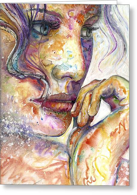 Female Mixed Media Greeting Cards - Thoughts Greeting Card by Frank Robert Dixon