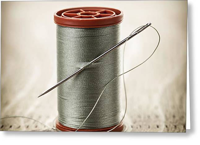 Spool Greeting Cards - Thread and needle Greeting Card by Elena Elisseeva