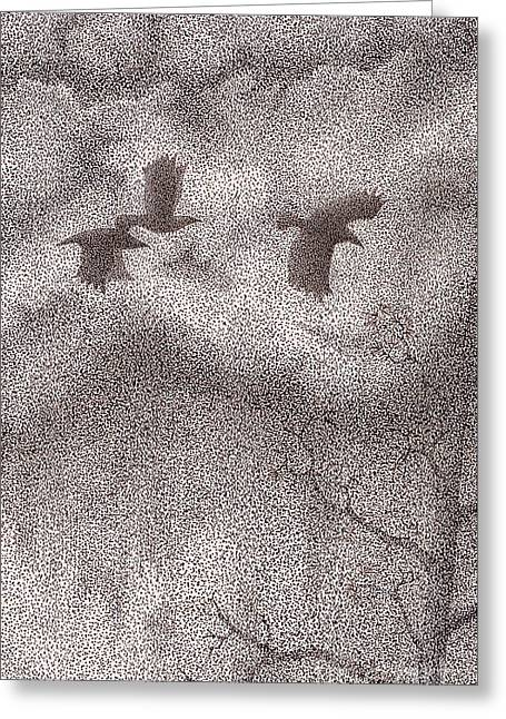 Stormy Weather Drawings Greeting Cards - Three Crows Greeting Card by Wayne Hardee