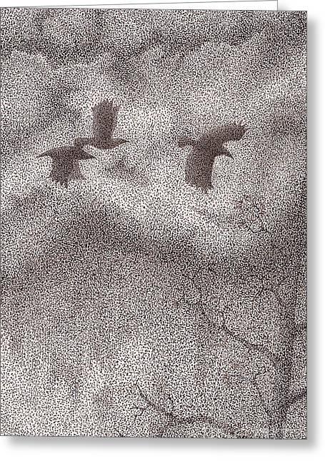Three Crows Greeting Card by Wayne Hardee