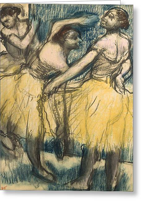 Tutu Pastels Greeting Cards - Three dancers in yellow skirts Greeting Card by Edgar Degas