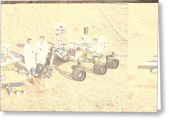 Three Generations Greeting Cards - Three generations of Mars rovers Greeting Card by Science Photo Library