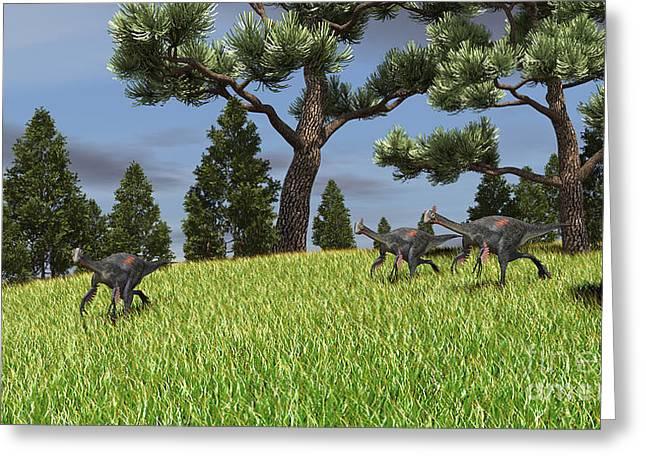 Bird On Tree Greeting Cards - Three Gigantoraptors Running Greeting Card by Kostyantyn Ivanyshen