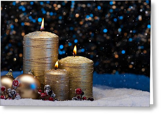 Candle Lit Greeting Cards - Three Gold Candles in snow  Greeting Card by Ulrich Schade
