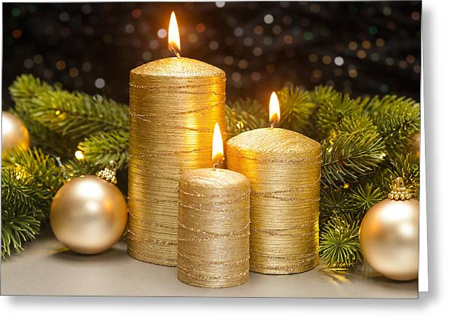 Candle Lit Greeting Cards - Three Golden Candles Greeting Card by Ulrich Schade