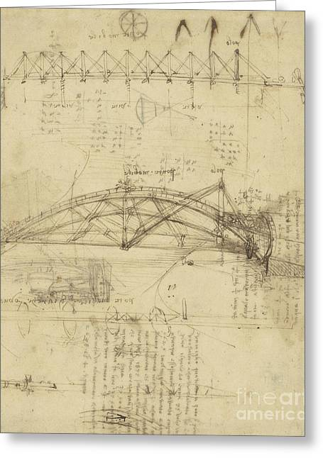 Texting Drawings Greeting Cards - Three kinds of movable bridge Greeting Card by Leonardo Da Vinci