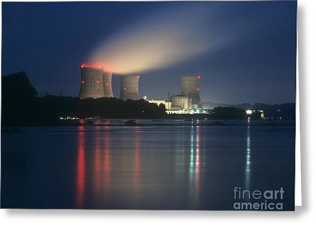 Three Generations Greeting Cards - Three Mile Island Nuclear Power Station Greeting Card by Martin Bond